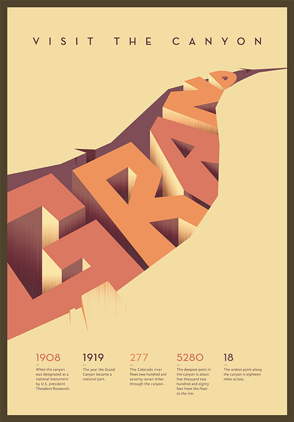 Typographic Poster on Behance #grand #design #crack #poster #art #canyon #visit #typography