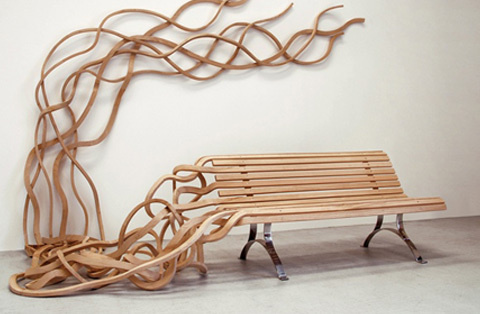 Spaghetti bench | Pablo Reinoso #flowing #bench #wood #furniture #art