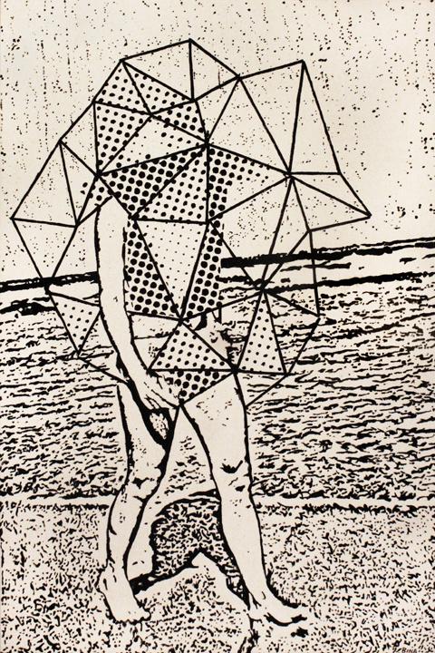 Passeggiata Dream Sequence, by Dan Bina #acrylic #abstract #bina #surrealism #dan #dots #figurative #painting #art #triangles #canvas #york #brooklyn #new