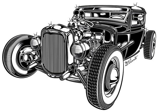 Black #hot #illustration #rod #car