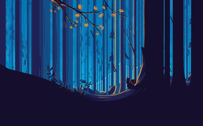 General 2560x1600 forest squirrel illustration sky blue yellow flower trees Tom Haugomat