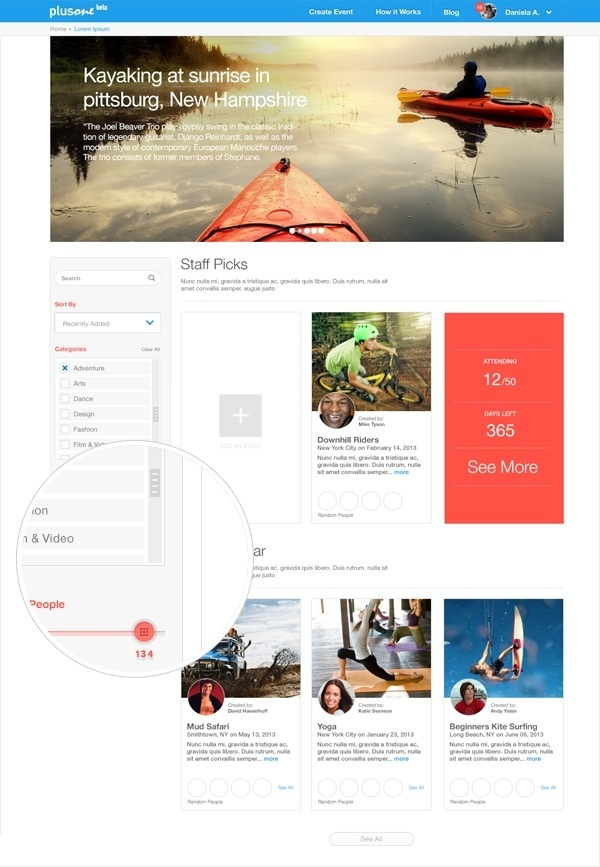 joinplusone.com - Open Events #events #whitespace #ux #interaction #minimalism #ui #sports #list #listingpage #filters