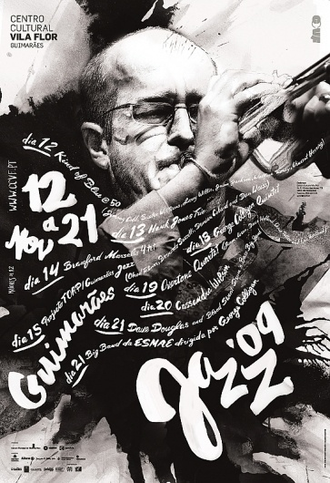 1106691255619415.jpg (549×800) #festival #jazz #monotone #painted #paint #handmade #poster #typography