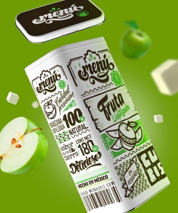 Freeze Dried fruit Packaging Original posted at @ https://www.behance.net/gallery/16779497/MENU-FRUIT #apple #lettering #packaging #c4d #typography #fruit #box #3d #tinbox