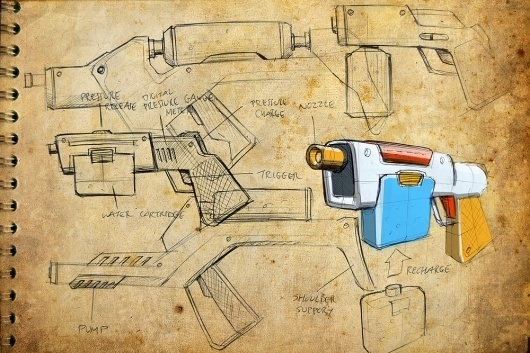 Viewing image supersoaker Old paper resized - Product Design Forums #supersoaker #sketch