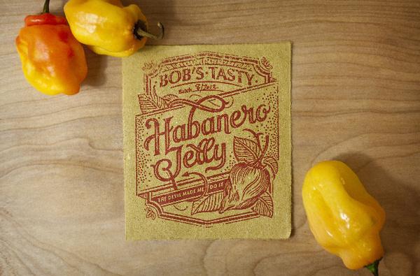 Bob's Tasty Habanero Sauce and Jelly #nick #packaging #habanero #label #misani #type