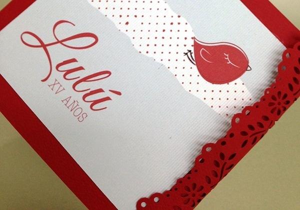 XV Invitación. Pajarito / VX invitation. Little Bird #printed #rojo #red #birs #invitation #craft #xv #aos #pajarito #invitacin
