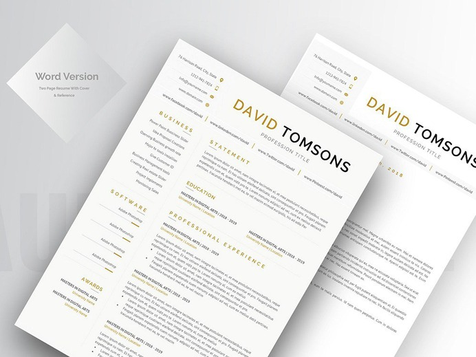 David Tomsons Resume - Free Word CV Template with Matching Cover letter
