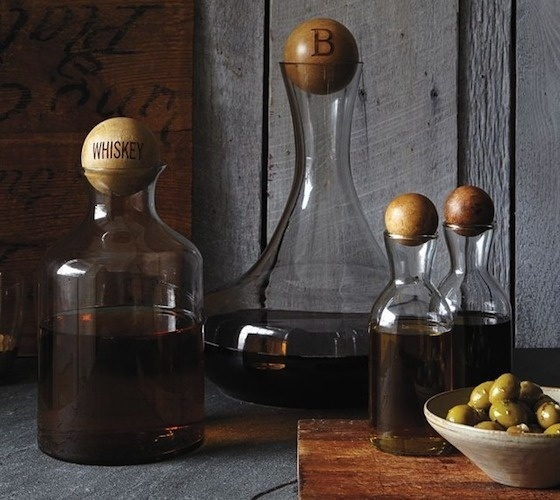 Glass Bottles With Wood Stoppers #wood #bottles #home