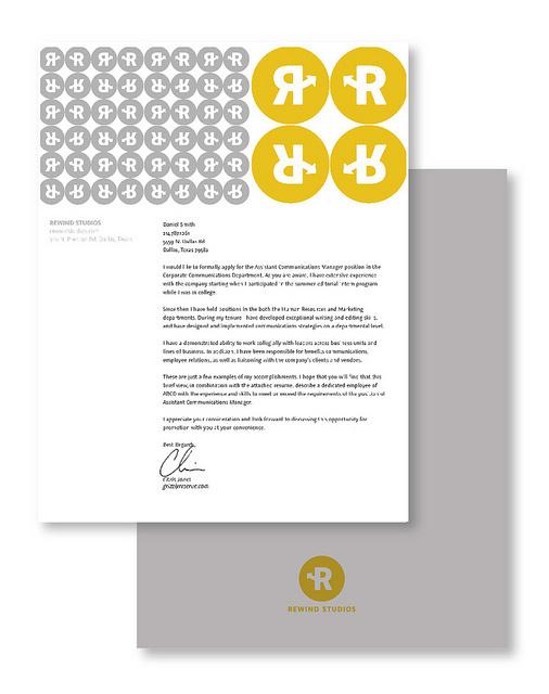 Rewind Studios Branding #studios #mccarty #business #branding #card #design #yellow #logo #rewind #studio #gray #type #letterhead #michael