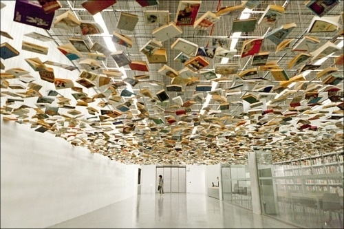 Meta This | The suspended books entrance to the Istanbul... #modern #museum #books #istanbul #library