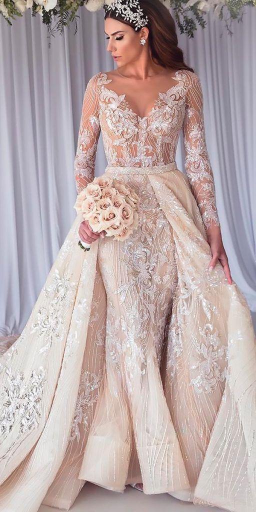 revealing wedding dresses overskirt lace v neckline long sleeve steven khalil