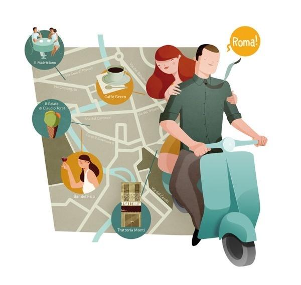 Illustration 3 #vespa #illustration #map #roma