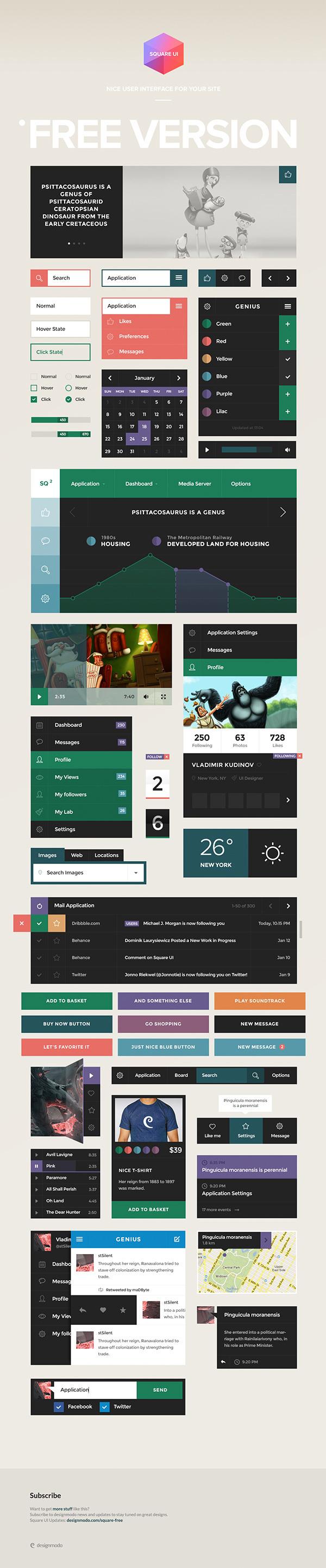 Square UI Free #ux #design #ui #kit #pack #web
