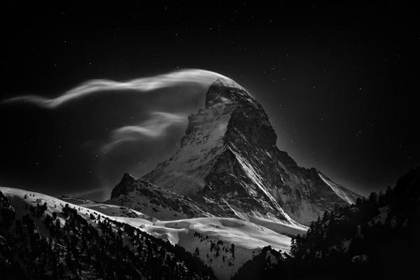 The Swiss Matterhorn 4478m at full moon by Nenad Saljic for National Geographic Photo Contest #amazing #switzerland #photography #matterhorn
