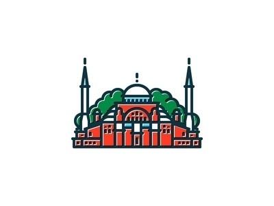 Hagia Sophia #vector #line #icon #turkey #istanbul #illustration #art