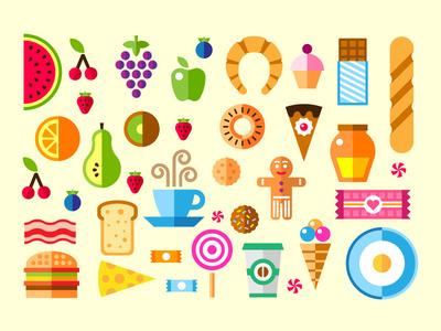 """Njam njam"" icon set #flat #background #breakfast #satisfying #icon #baguettes #strawberries #chocolate #illustration #watermelon"