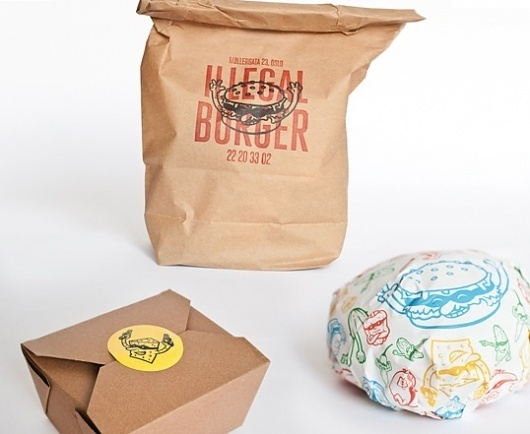 Illegal Burger : Lovely Package . Curating the very best packaging design. #packaging #illegal #burger #oslo