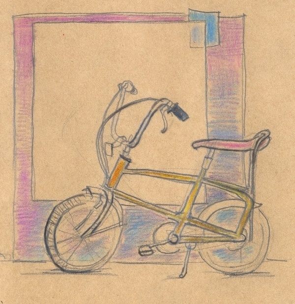 red ink on paper #color #hand #drawn #bike #pencil #sketch
