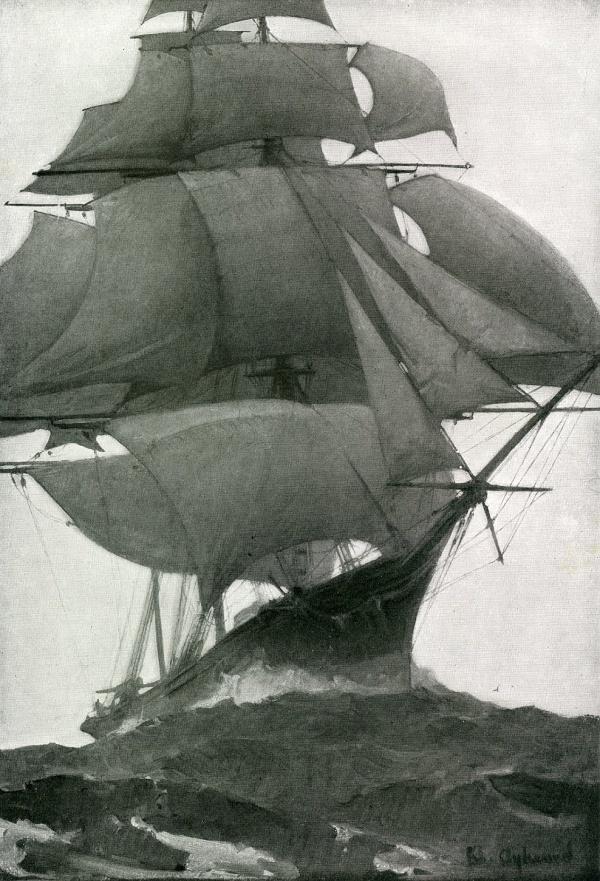 snowce, William Aylward #sails #ship #sea #boat #frigate #rigging #waves #masts