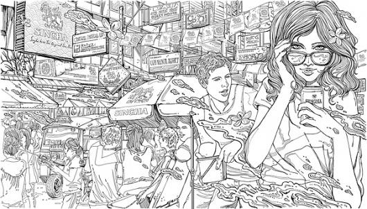 SINGHA beer Calendar 2011 on the Behance Network #illustration