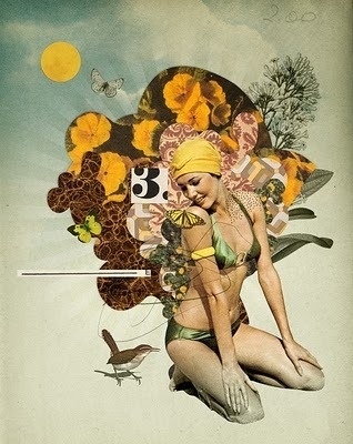 Eduardo Recife #women #collage #flowers #bird