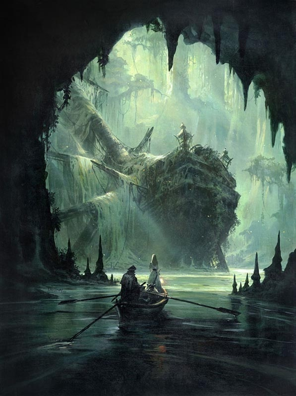Concept Art by Mathieu Lauffray #cave #lagoon #cove #illustration #concept #ship #boat #art #moonlight #light #pirate #shadow