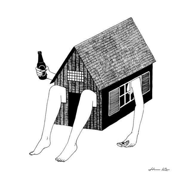 Black and white surreal illustrations by Henn Kim