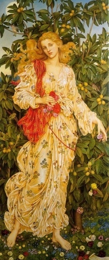Flora :: Evelyn De Morgan #woman #morgan #london #yellow #golden #summer #painting #spring #oil