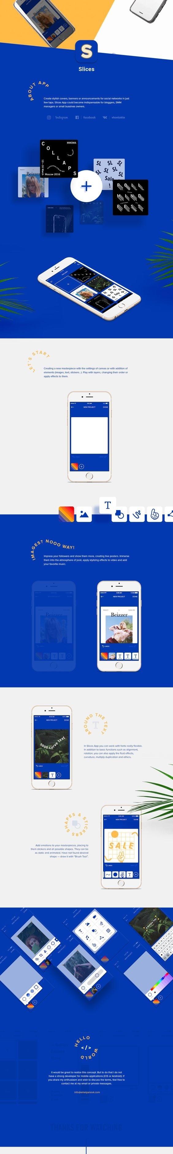 https://www.behance.net/gallery/38479067/Slices-App-SMM-Banner-Maker-for-iOS #app #mobile #ios #editor #photoshop #minimalism #menu #sideba