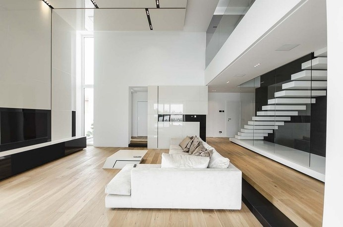 Black&White Volumes Defining Modern C House in Timisoara, Romania #interior #blackwhite #modern #design #living #room