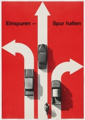 MoMA | The Collection | Hans Hartmann. Einspuren - Spur Halten. 1963 #swiss #white #red #hans #harmann #black #poster