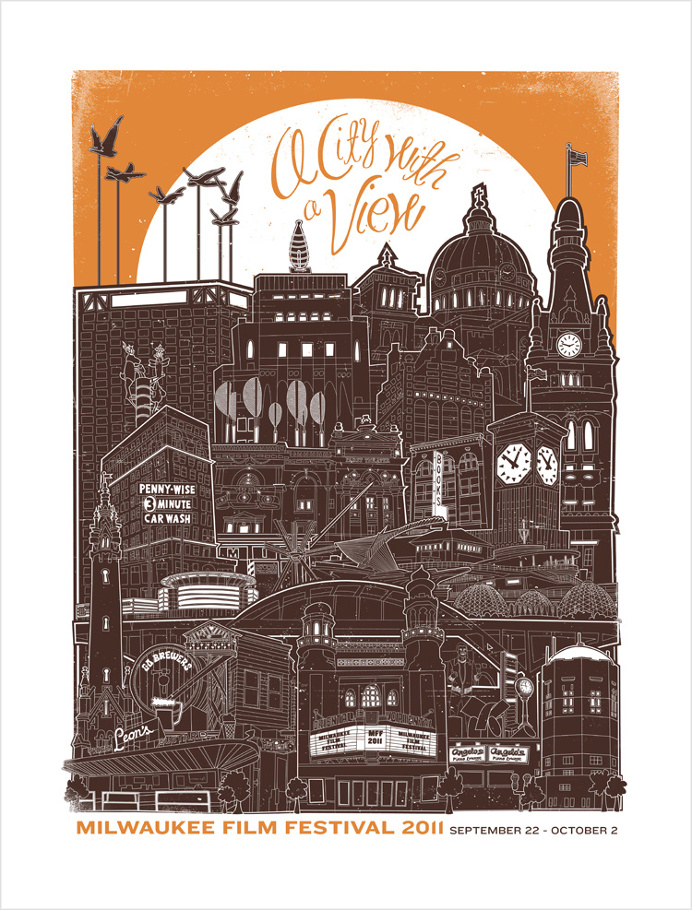 Campaign poster for 2011 Milwaukee Film Festival. #milwaukee #milwaukeefilm #milwaukeelandmarks #illustration #city #cityscape