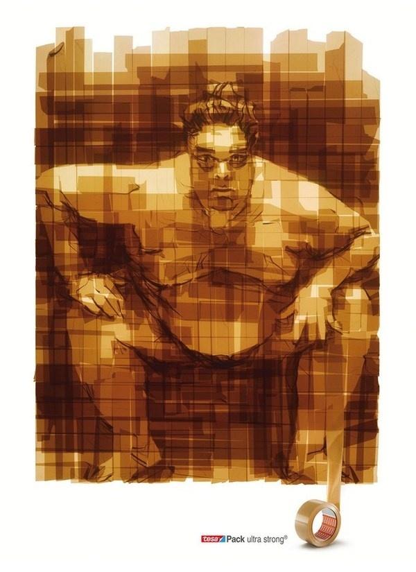Tesa tape with Sumo tape painting #portraits #tape #art #paintings