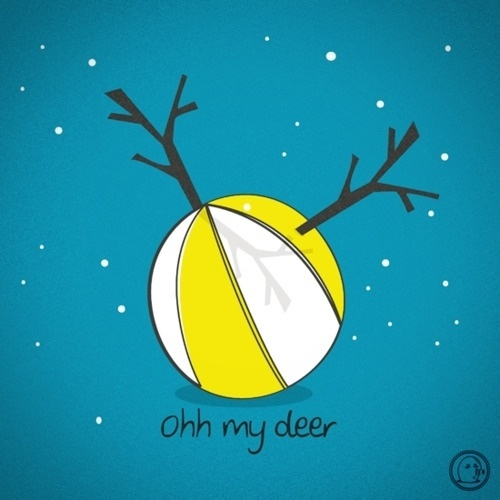 Lonelypeopleart :: Illustration • oh my deer~ Tumblr::Etsy::Twitter::Facebook #deer #beach #ball #ohh #lonelypeopleart