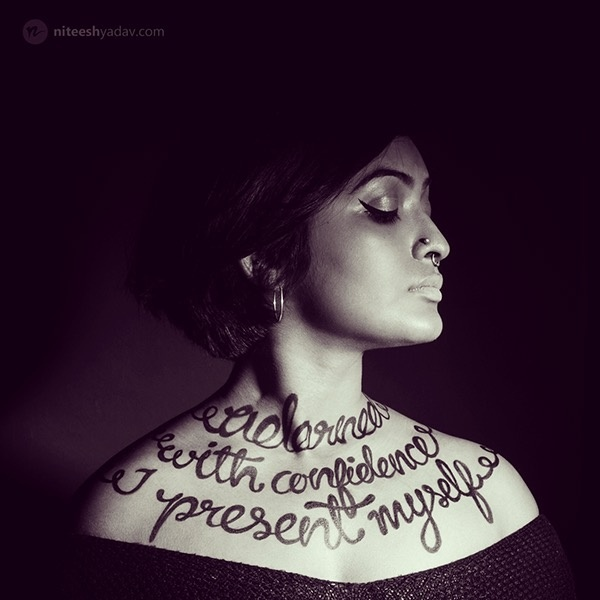 "Lettering project. ""Adorned with confidence I present myself"" #typography #bodytype #lettering"