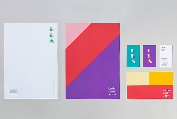 London Luton Airport by Ico Design and Atipo #stationary #brand design #colourful