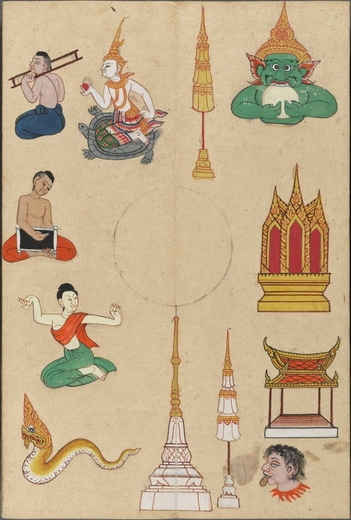 variety of individual sketches of temples & stupa & people & mythological figures #asian