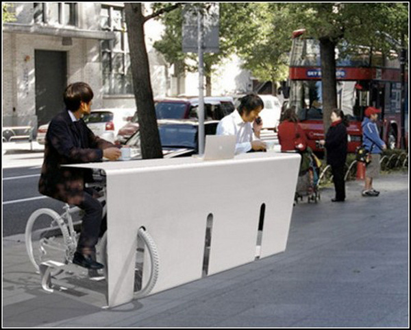 Top 10 most unusual bicycle parking | Chill Hour Japanese company which created a special parking-tables to dine, to sit on the internet or #bikes #parking