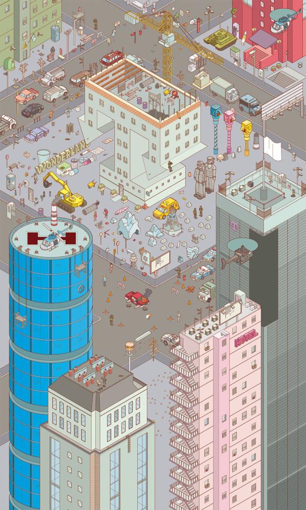 Chaos City on Behance #city #illustration #isometric