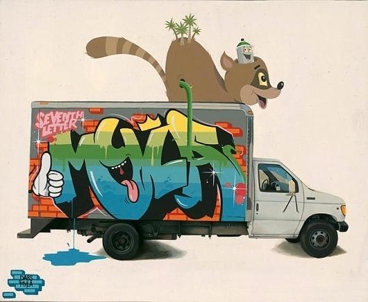 graffiti | Fecal Face #illustration #graffiti #truck #spray can #racoon