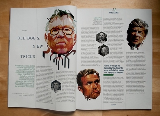 GQ Magazine - Mind Games portraits on the Behance Network #illustration #layout #magazine
