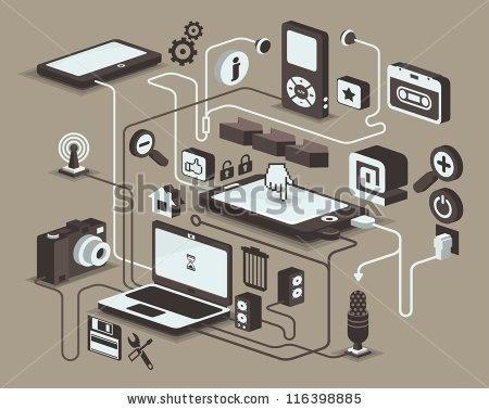 stock vector : web and social media icons, vector elements, #gadgets