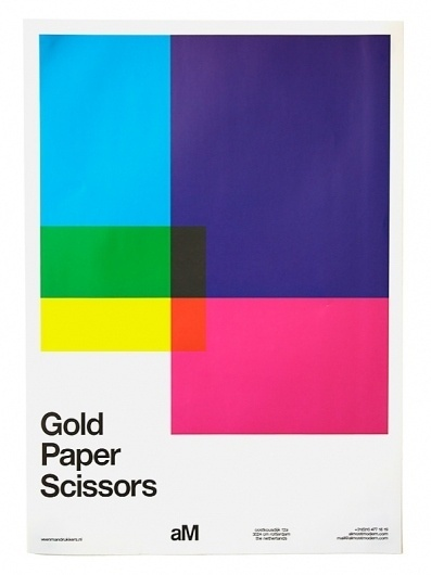 almost Modern : Gold Paper Scissors #helvetica #geometric #poster #typography
