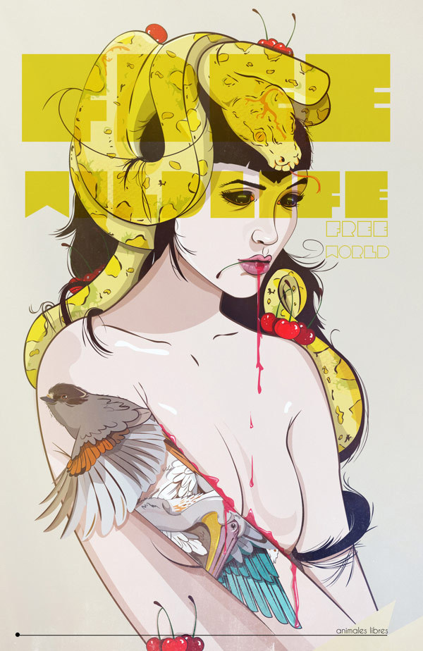 Saskia Diaz #illustration #girls #snake