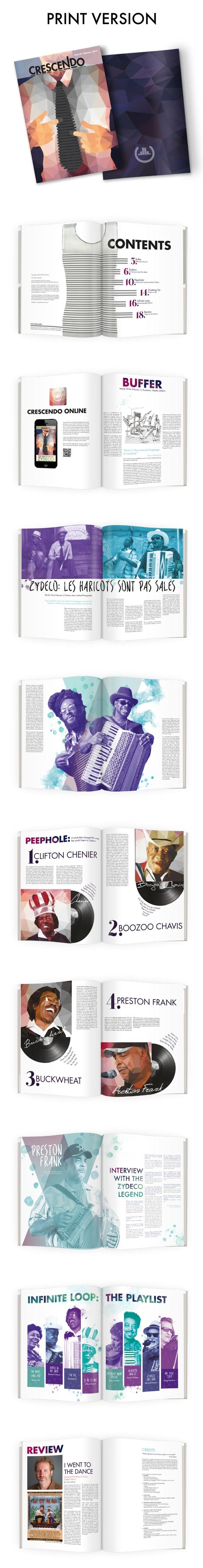 Print Layouts for Crescendo Magazine- The Zydeco Issue #zydeco #design #music #layout #crescendo #editorial #magazine