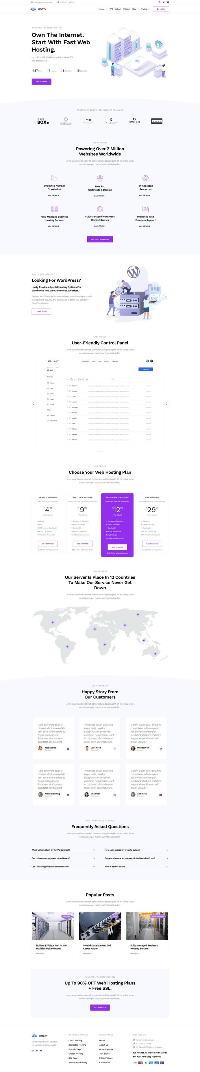 Hosty – Hosting Services Elementor Template Kit