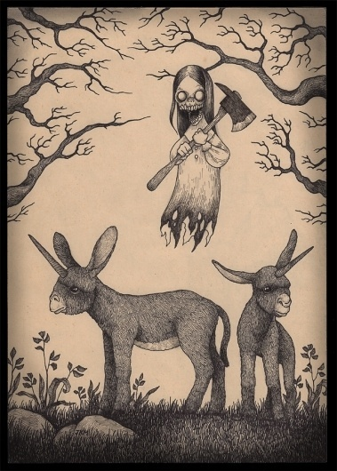 muleicorn.jpg (645×900) #donkey #creepy #unicorn #horror #illustration #axe