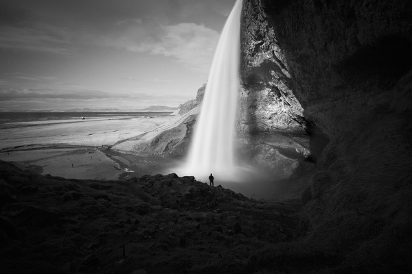 Seljalandsfoss waterfall bw #blackwhite #seljalandsfoss #flickr #colossal #finds #photography #waterfall #mcdougall #paddy