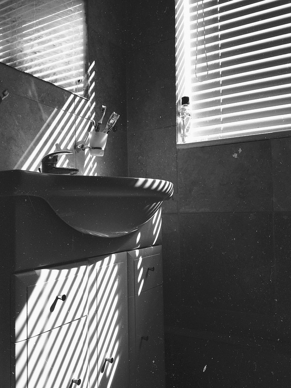 iPhone bathroom   Flickr - David Walby #white #sink #blinds #london #& #toothbrush #black #walby #david #light #wall-b